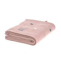 LASSIG - Baby Knitted Blanket GOTS, Dots rosa oscuro